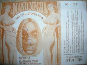 Il biglietto del concerto di Elio e la Mano Negra (fornitomi da ll'amico Marco Pigozzi)